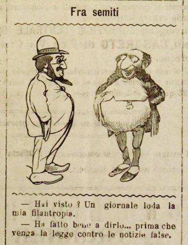 """Fra semiti, """"L'eco d'Italia"""", 24 febbraio 1899. Alcuni fra i più diffusi stereotipi antisemiti: l'avarizia e la falsità - Biblioteca nazionale centrale, Firenze"""