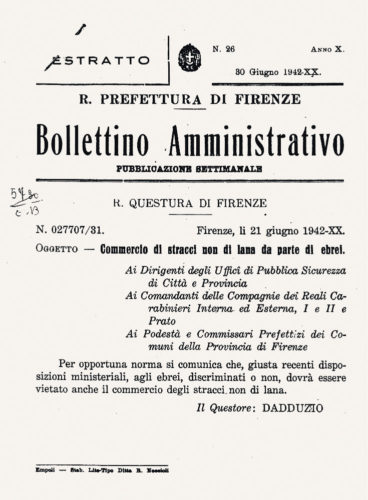 Pubblicazione ufficiale del divieto di commercio di stracci non di lana, giugno 1942 - Comune di Bagno a Ripoli, Archivio storico, 1942, categoria 15