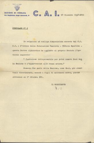 Circolare del Club Alpino Italiano, sezione di Ferrara, di esclusione degli ebrei, 18 dicembre 1938 -  Archivio privato, Milano