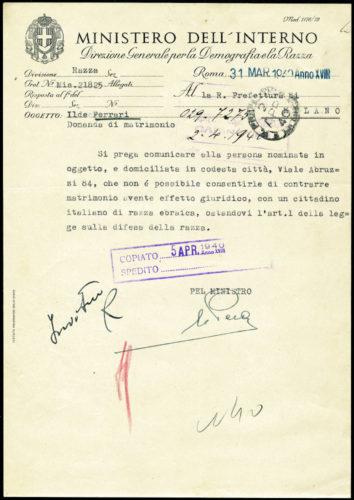 Lettera del Ministero dell'Interno alla Prefettura di Milano del 31 marzo 1940: divieto per una non ebrea di sposare un ebreo -  AdS Milano, Gabinetto di Prefettura, II categoria, b. 112