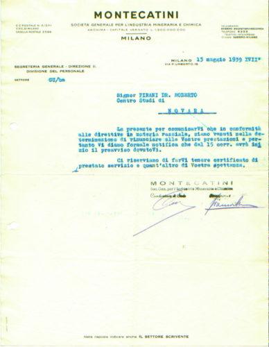 Licenziamento di Roberto Pirani dalla società Montecatini, 15 maggio 1939 -  Archivio privato, Milano