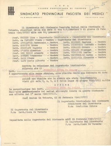 """Espulsione di Bruno Pincherle dal sindacato dei medici di Trieste, 29 febbraio 1940 - IRSML, sezione Venezia Giulia, fondo Bruno Pincherle - <a href=""""http://digital-library.cdec.it/cdec-web/persone/detail/person-it-cdec-eaccpf0001-000400/pincherle-bruno.html"""" target=""""_blank""""  >vai alla scheda</a>"""