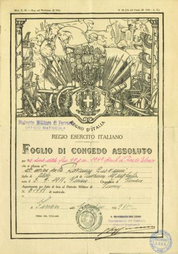 """Congedo assoluto dall'esercito di Giovanni Ravenna, 19 luglio 1939. - Archivio CDEC, Fondo Legislazione Antiebraica, fasc. """"Ravenna Giovanni""""  - <a href=""""http://digital-library.cdec.it/cdec-web/persone/detail/person-it-cdec-eaccpf0001-019045/ravenna-giovanni.html"""" target=""""_blank""""  >vai alla scheda</a>"""