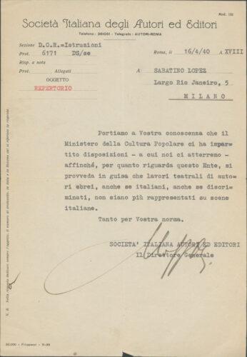"""Lettera di espulsione di Sabatino Lopez dalla Società Italiana degli Autori ed Editori, 6 aprile 1940 - Archivio CDEC, Fondo Guido Lopez   - <a href=""""http://digital-library.cdec.it/cdec-web/persone/detail/person-cdec201-409/lopez-sabatino.html"""" target=""""_blank""""  >vai alla scheda</a>"""