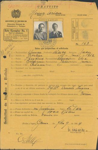 """Permesso d'ingresso in Bolivia per Enzo Arian e la moglie Giorgina Levi, febbraio 1939 - Archivio CDEC, Fondo Giorgina Arian Levi, b.1,  fasc. 3 - <a href=""""http://digital-library.cdec.it/cdec-web/persone/detail/person-it-cdec-eaccpf0001-000292/levi-giorgina.html"""" target=""""_blank""""  >vai alla scheda</a>"""