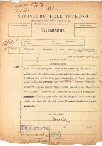 Telegramma che ordina l'internamento per gli ebrei italiani considerati pericolosi, 27 maggio 1940 - ACS, MI, DGPS, AGR, massime, b.99 (concessione n. 484/04)