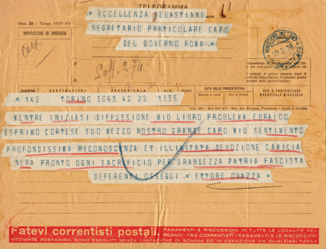 """Ettore Ovazza invia in omaggio a Benito Mussolini il suo libro """"Sionismo bifronte"""" - ACS, SPD, CO, b.732, f.211398 (concessione n. 484/04)"""