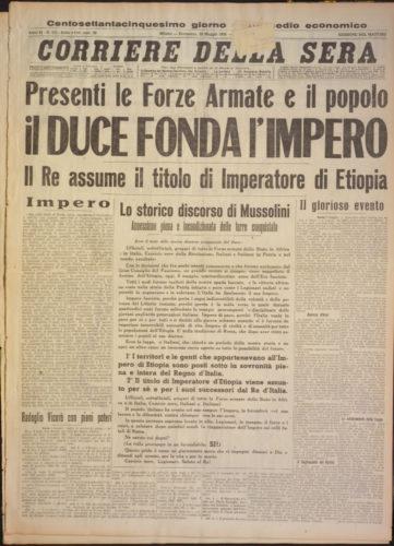 """Presenti forze armate e popolo il Duce fonda l'Impero, """"Corriere della Sera"""", 10 maggio 1936 - Biblioteca nazionale centrale, Firenze"""