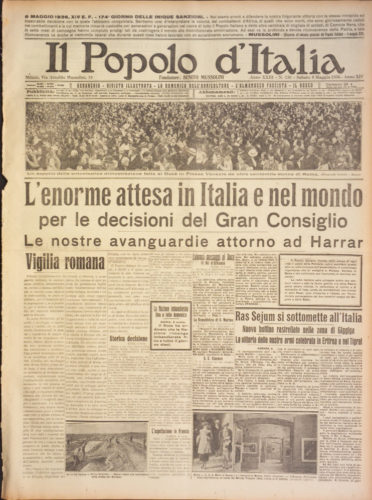 """L'enorme attesa in Italia e nel mondo, """"Il popolo d'Italia"""", 8 maggio 1936 - Biblioteca nazionale centrale, Firenze"""