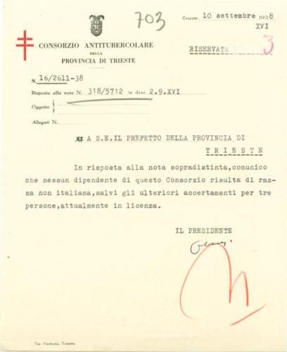 Risposta del Consorzio antitubercolare di Trieste al censimento dei dipendenti ebrei, 10 settembre 1938 - AdS Trieste, Prefettura, b.362