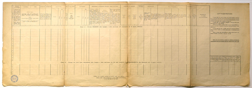 Il modulo per il censimento dell'agosto 1938 -  Archivio CDEC