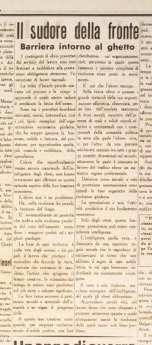 """Il sudore della fronte, """"La Maremma"""", 4 luglio 1942. La propaganda fascista si soffermò ampiamente sul fatto che con la precettazione gli ebrei fossero per la prima volta costretti a lavorare davvero - Biblioteca nazionale centrale, Firenze"""