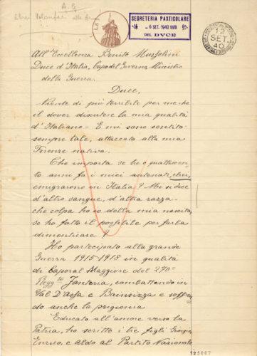 Richiesta di Carlo Montefiore di andare volontario in guerra - ACS, MI, DGDR, b.10 (concessione n. 484/04)