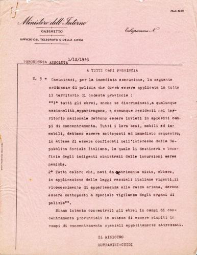 Ordinanza di polizia n. 5 del 30 novembre 1943 che disponeva l'arresto di tutti gli ebrei - ACS, MI, DGPS, AGR, A5G II guerra mondiale, b. 151 (concessione n. 484/04)