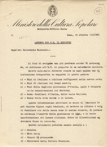 Proposta di calendario razziale dell'ufficio razza del Ministero della Cultura popolare, ottobre 1938 - ACS, MCP, gabinetto, b.12 (concessione n. 484/04)