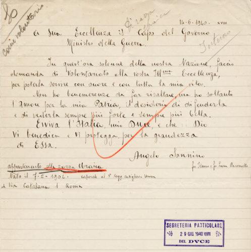 Richiesta di Angelo Sonnino di andare volontario in guerra - ACS, MI, DGDR, b.10 (concessione n. 484/04)