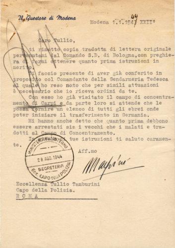 Il questore di Modena al capo della polizia sugli ebrei da trasferire in Germania, 1 gennaio 1944 -  ACS, MI, DGPS, AGRR, A5G II guerra mondiale, b. 151 (concessione n. 484/04)