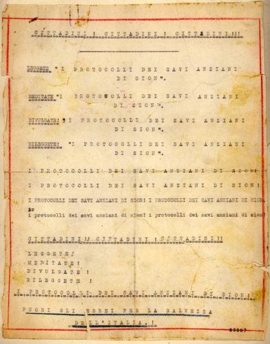 Volantino antisemita diffuso a Trieste nell'ottobre 1941 - ACS, MI, DGPS, ,AGR, 1941, b.5/B (concessione n. 484/04)