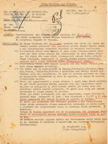 Traduzione di lettera del Comando della polizia di sicurezza tedesca di stanza a Bologna al questore di Modena, 20 dicembre 1943 -  ACS, MI, DGPS, AGGR, A5G II guerra mondiale, b. 151 (concessione n. 484/04)