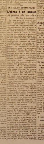"""L'ebreo è un nemico più pericoloso delle forze esterne, """"Corriere della Sera"""", 5 dicembre 1943 - Biblioteca Nazionale, Firenze"""