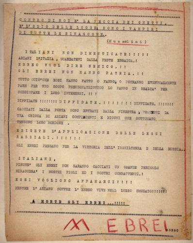 Volantino antisemita diffuso a Trieste nell'ottobre 1941 che ribadisce la volontà degli ebrei di volere, con la guerra, conquistare il mondo. - ACS, MI, DGPS, AGR, 1941, b.5/B (concessione n. 484/04)