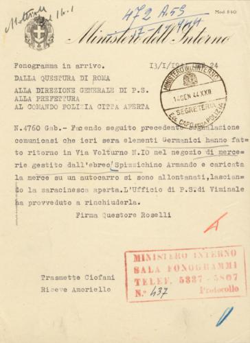 Comunicazione del questore di Roma sulla rapina di beni ebraici a Roma, 13 gennaio 1944 - Archivio CDEC, Fondo Legislazione antiebraica