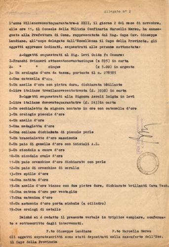 Elenco degli oggetti sequestrati dalla Milizia Confinaria ai coniugi Levi arrestati sul confine italo-svizzero - ACS, MI, DGPS, AGR, A5G II guerra mondiale, b. 151 (concessione n. 484/04)