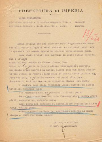 La prefettura di Imperia comunica al Ministero dell'Interno l'arresto di due ebrei rifugiati in un convento, 18 febbraio 1944 - ACS, MI, DGPS, AGR, A5G II guerra mondiale, b. 151 (concessione n. 484/04)