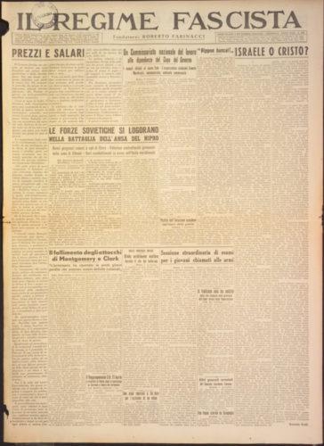 """Israele o Cristo?, """"Il regime fascista"""", 8 dicembre 1943 - Biblioteca nazionale centrale, Firenze"""
