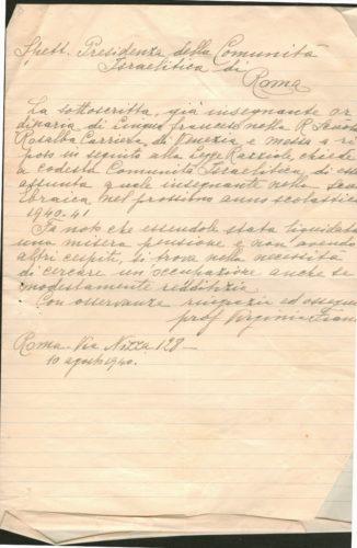 Lettera di Virginia Franco al presidente della Comunità israelitica di Roma del 10 agosto 1940. Le Comunità divennero assai più che negli anni precedenti punti di riferimento, anche per la ricerca di un lavoro - Comunità ebraica Roma, Archivio storico, b.95