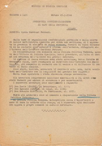 Comunicazione dell'Ufficio di polizia speciale dell'arresto di ebrei rifugiati presso l'Opera Cardinal Ferrari di Milano, 25 marzo 1944 - ACS, MI, DGPS, AGR, A5G II guerra mondiale, b. 151 (concessione n. 484/04)