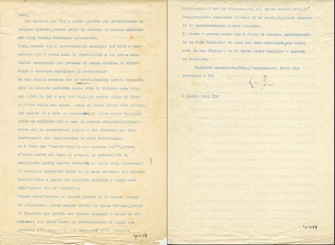 Lettera al Duce di un padre la cui figlia ha sposato un ebreo, 4 luglio 1941. - La legislazione antiebraica spaccò anche le famiglie  ACS, MI, DGDR, b.5 (concessione n. 484/04)