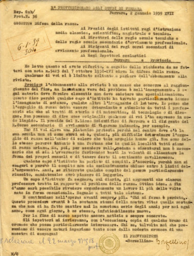Direttive del provveditore agli studi di Ferrara a tutti gli istituti scolastici - Liceo classico statale L. Ariosto, Ferrara, Archivio storico