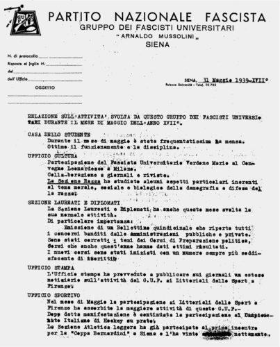 Il programma del Gruppo universitario fascista di Siena, 31 maggio 1939 -  ACS, Segreteria GUF, b.49 (concessione n. 484/04)