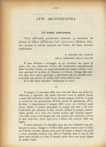 Omelia del Cardinale Ildefonso Schuster pronunciata nel Duomo di Milano il 13 dicembre 1938. La condanna dell'antisemitismo nazista - Biblioteca, Università Cattolica del Sacro Cuore, Milano.