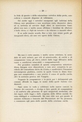Omelia pronunciata da Monsignor Giovanni Cazzani, Vescovo di Cremona, per la quaresima del 1939. Emerge qui con chiarezza la presenza di un forte antigiudaismo - Biblioteca, Università Cattolica del Sacro cuore, Milano.