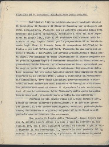 Relazione di Padre Benedetto Maria sull'attività della Delasem (p.1) - Archivio CDEC, fondo Soccorritori, b. 3, fasc. 23