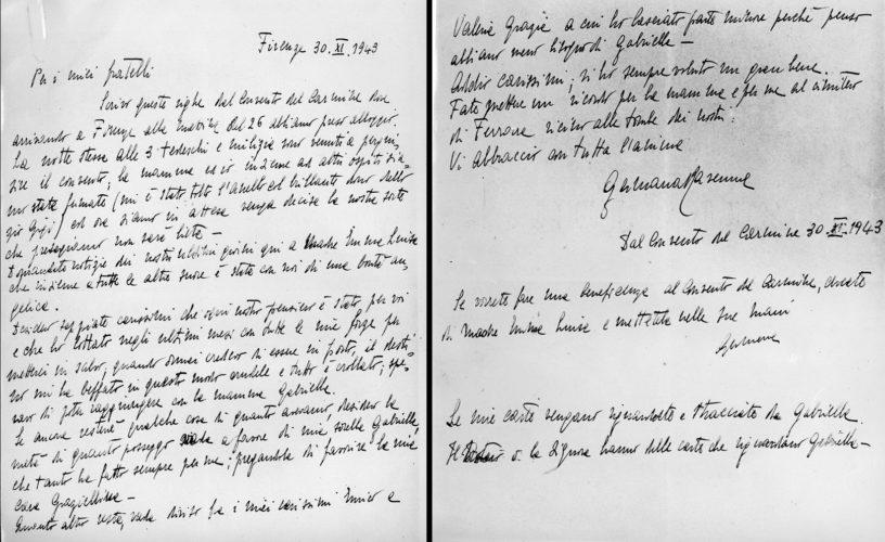 """Lettera di Germana Ravenna ai fratelli dopo l'arresto nel convento del Carmine di Firenze, 30 novembre 1943. - Archivio CDEC, Fondo Vicissitudini dei singoli, b. 21, fasc. 610  - <a href=""""http://digital-library.cdec.it/cdec-web/storico/detail/IT-CDEC-ST0005-000739/ravenna-germana.html"""" target=""""_blank""""  >vai alla scheda</a>"""