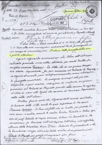 """Il comando di polizia tedesco comunica al capo della provincia di Genova: .""""...Il ritorno della famiglia Cohen non è più da attendersi"""", 16 dicembre 1943 -  AdS Genova, ex RSI, Prefettura, b. 35 (autorizzazione n. 25/04, prot. n. 3627.V/9.04)"""