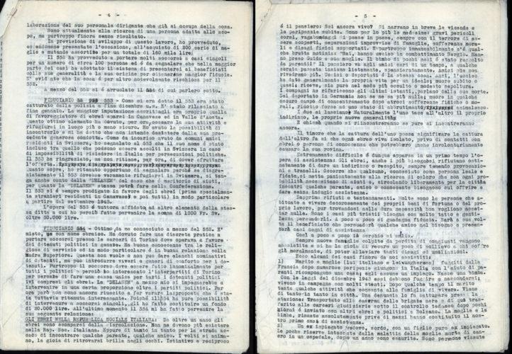 """Relazione di Giorgina Segre della rete di soccorso ai perseguitati: """"Gli ebrei nella Repubblica sociale italiana"""", redatto nel febbraio 1945. - Archivio CDEC, Fondo Raffaele Jona"""