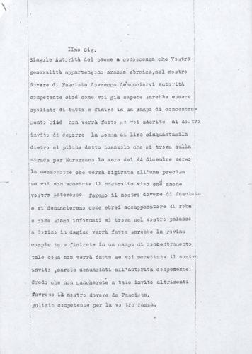"""Lettera di ricatto a Oreste Colombo di Cuneo - Archivio CDEC,  fondo Vicissitudini dei singoli, b. 5, fasc. 150   - <a href=""""http://digital-library.cdec.it/cdec-web/storico/detail/IT-CDEC-ST0005-000238/colombo-oreste.html"""" target=""""_blank""""  >vai alla scheda</a>"""