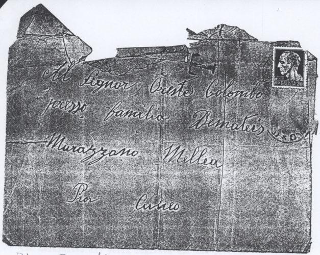 """Busta della lettera di ricatto a Oreste Colombo di Cuneo - Archivio CDEC,  fondo Vicissitudini dei singoli, b. 5, fasc. 150 - <a href=""""http://digital-library.cdec.it/cdec-web/storico/detail/IT-CDEC-ST0005-000238/colombo-oreste.html"""" target=""""_blank""""  >vai alla scheda</a>"""