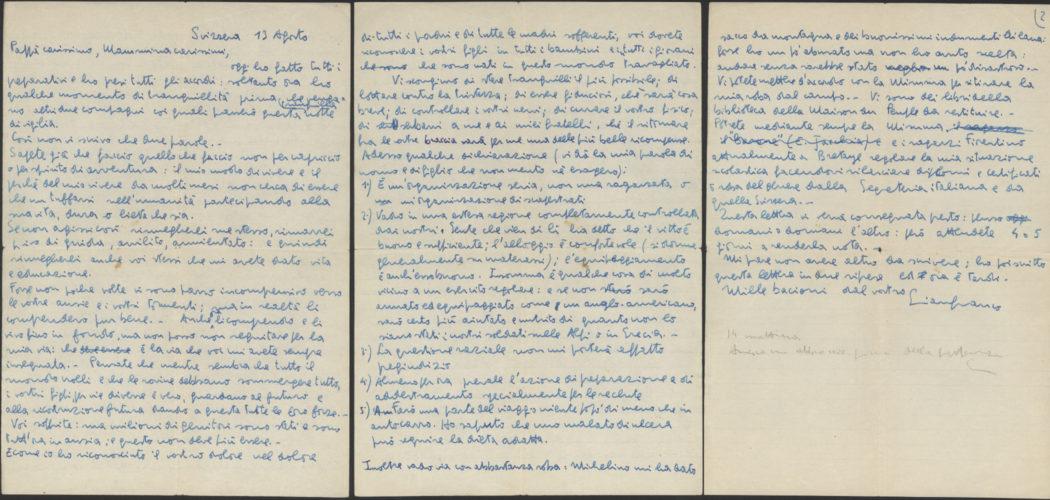 Gianfranco Sarfatti, partigiano (1922-1945) - Lettera di Gianfranco Sarfatti ai genitori al momento di entrare nella Resistenza, 13 agosto 1944. Nato nel 1922 a Firenze entrò a far parte delle Brigate Garibaldi in Valle d'Aosta. Venne ucciso nel corso di un rastrellamento il 21 febbraio 1945  Archivio privato, Firenze