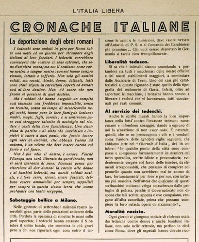 """La deportazione degli ebrei romani, """"L'Italia libera"""", 17 ottobre 1943 - Collezione privata, Firenze"""