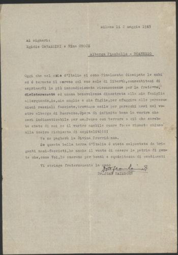 """Lettera di ringraziamento di Jean Haimsohn a Egidio Cavazzini e Rina Croce per l'aiuto ricevuto, 2 maggio 1945 - Archivio CDEC, Fondo Soccorritori, b.2, fasc. """"Cavazzini Egidio e Rina Croce"""""""