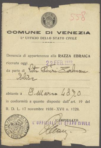 """Ricevuta di dichiarazione di """"appartenenza alla razza ebraica"""" del comune di Venezia, 22 febbraio 1939 - Archivio CDEC, Fondo Legislazione antiebraica, fasc. """"Vita Finzi Zalman [Elisa]"""""""
