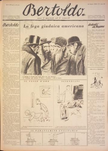 """La lega giudaica americana, """"Bertoldo"""", 25 ottobre 1938. Lo stereotipo della congiura ebraica per la conquista del mondo. - Biblioteca nazionale centrale, Firenze"""