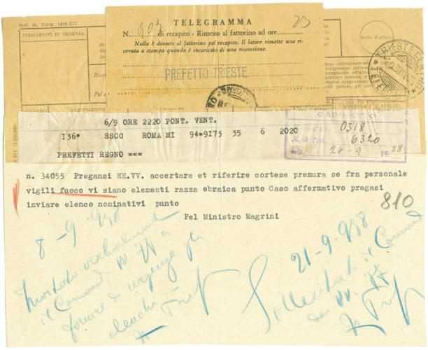 Richiesta al corpo dei vigili del fuoco di Trieste di censire i dipendenti ebrei, 21 settembre 1938 - AdS Trieste, Prefettura, b. 362