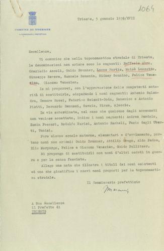 Il commissario prefettizio del Comune di Trieste propone di cambiare nomi alle strade della città intitolate ad ebrei, 5 gennaio 1939 -  AdS Trieste, Prefettura, b. 394