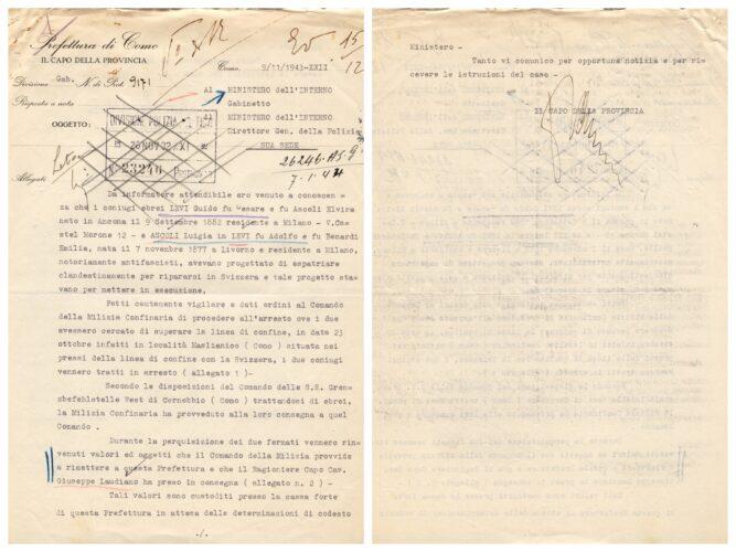 """ll capo della provincia di Como comunica l'arresto su delazione di Guido e Luigia Levi sul confine italo-svizzero, 9 novembre 1943 - ACS, MI, DGPS, AGR, A5G II guerra mondiale, b. 151 (concessione n. 484/04) - <a href=""""http://digital-library.cdec.it/cdec-web/persone/detail/person-4638/levi-guido.html"""" target=""""_blank""""  >vai alla scheda</a>"""